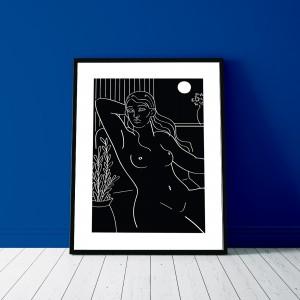 contemplation-cadre-nu-feminin-serigraphie-nantes-illustration-sarah-nyangue-saratoustra