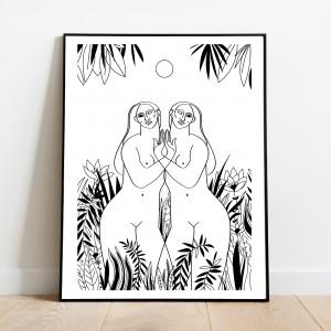 deux-femmes-cadre-serigraphie-foret-illustration-nantes-sarah-nyangue-saratoustra