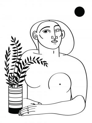 femme-au-pot-serigraphie-illustration-nantes-sarah-nyangue-saratoustra