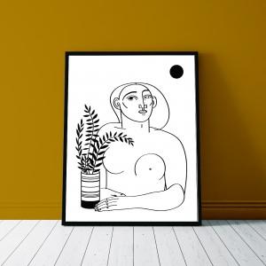 la-femme-au-pot-cadre-serigraphie-illustration-nantes-sarah-nyangue-saratoustra