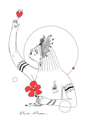 a-la-vie-a-l-amour-riso-illustration-déesse-print-affiche-love-fleur-nantes-sarah-nyangue-saratoustra