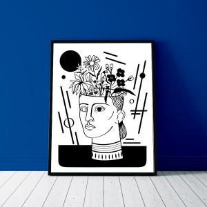 la-femme-en-fleurs-cadre-serigraphie-antique-illustration-nantes-sarah-nyangue-saratoustra