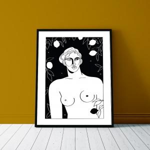 le-gout-des-citrons-cadre-serigraphie-illustration-nantes-citron-sarah-nyangue-saratoustra