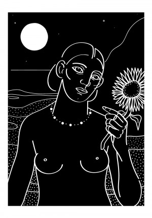 le-tournesol-noir-serigraphie-illustration-nantes-sarah-nyangue-saratoustra