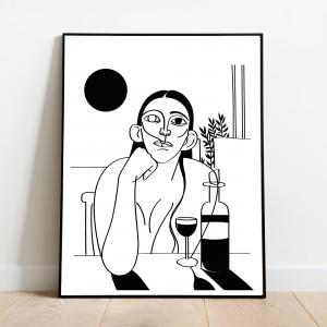 madame-reve-cadre-serigraphie-vin-illustration-nantes-sarah-nyangue-saratoustra