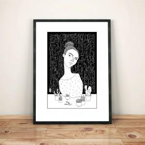 mettre-sa-rancoeur-dans-de-jolis-petits-pots-cadre-serigraphie-illustration-nantes-monochrome-sarah-nyangue-saratoustra