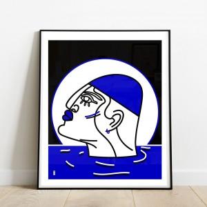 le-nageur-cadre-serigraphie-illustration-mer-nantes-sarah-nyangue-saratoustra