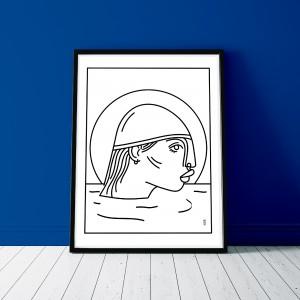 nageuse-mer-print-cadre-illustration-nantes-sarah-nyangue-saratoustra