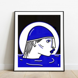 la-nageuse-cadre-serigraphie-illustration-mer-nantes-sarah-nyangue-saratoustra