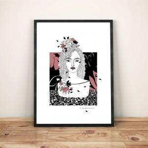 se-laisser-fleurir-de-nouveau-cadre-serigraphie-illustration-nantes-amour-sarah-nyangue-saratoustra