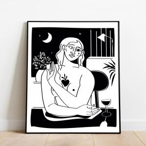 un-coeur-tendre-cadre-serigraphie-illustration-vin-sacre-nantes-sarah-nyangue-saratoustra